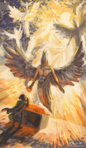 A seraphim uses a burning coal to cleanse Isaiah of iniquity Isaiah 6:6-7